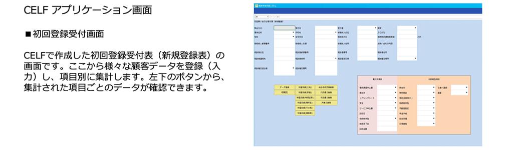 CELFアプリケーション画面の初回登録受付画面。CELFで作成した初回登録受付表(新規登録表)の画面です。ここから様々な顧客データを登録(入力)し、項目別に集計します。左下のボタンから、集計された項目ごとのデータが確認できます。